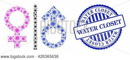 Covid-2019 Mosaic Toilet Gender Symbol Icon, And Grunge Water Closet Seal. Toilet Gender Symbol Coll