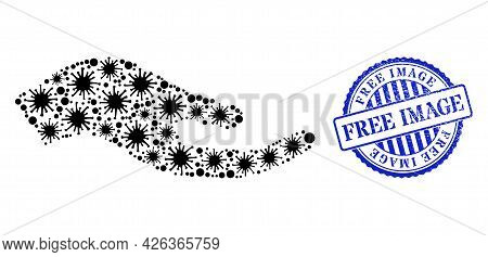 Contagious Mosaic Petition Hand Icon, And Grunge Free Image Stamp. Petition Hand Mosaic For Isolatio