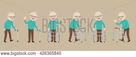 Set Of Elderly Disabled People And Medical Walker Support ,old Grandparents In Retirement. Modern El