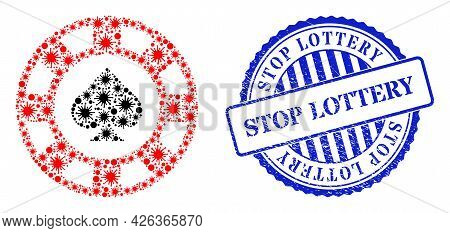Infection Mosaic Spades Casino Chip Icon, And Grunge Stop Lottery Stamp. Spades Casino Chip Mosaic F