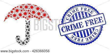 Covid Mosaic Umbrella Icon, And Grunge Crime Free Seal Stamp. Umbrella Mosaic For Pandemic Templates