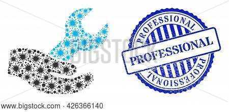 Bacterium Collage Hand And Wrench Icon, And Grunge Professional Seal Stamp. Hand And Wrench Mosaic F