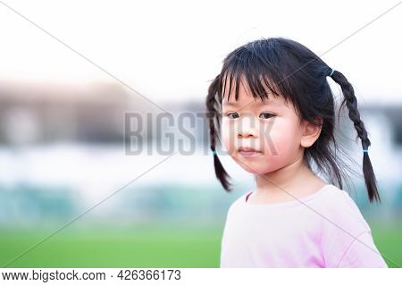 Portrait Images. Cute Asian Girl Face Is Turning To The Camera And Smiling Softly. Children Braid Tw