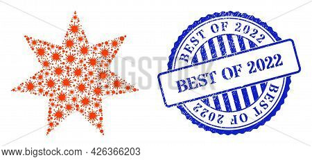 Covid-2019 Collage Seven Pointed Star Icon, And Grunge Best Of 2022 Stamp. Seven Pointed Star Collag