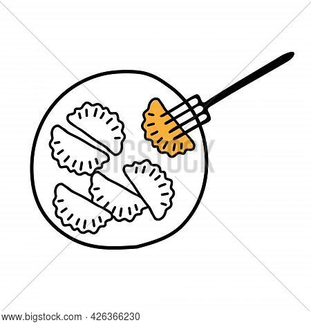 A Black Hand-drawn Outline Vector Illustration Of A Group Of Hot Chebureks Or Dumplings On The Plate