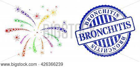 Virus Collage Virus Festive Icon, And Grunge Bronchitis Seal Stamp. Virus Festive Mosaic For Breakou