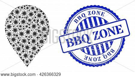 Contagious Mosaic Map Marker Icon, And Grunge Bbq Zone Seal Stamp. Map Marker Mosaic For Isolation I