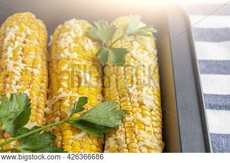 Recipe Homemade Cooking. Mexican Elote Corn Sprinkled With Cheese Or Parmesan And Cilantro On Baking