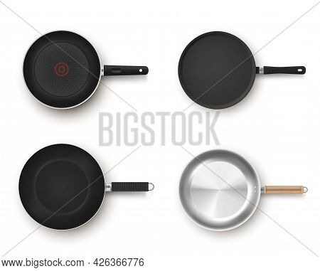 Collection Empty Frying Pans Top View Vector Realistic Illustration Metallic Pan Non Stick Coating