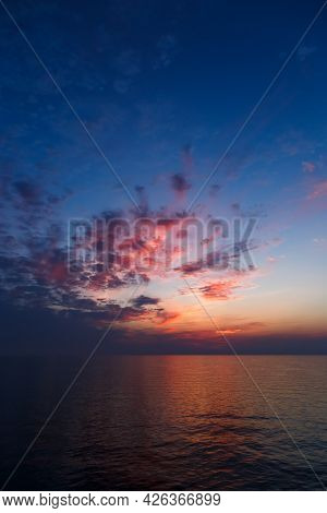 A Stunning Pink And Orange Sunset Sky In The Middle Of Mediterranean Sea, Sunset Background