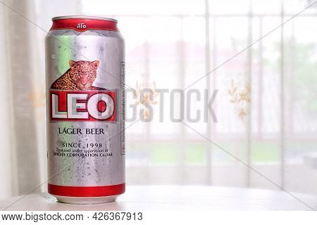 Leo Beer Can, Net Weight 490 Ml. Alc 5% Vol, Soak In The Refrigerator.leo Beer Created By Boon Rawd