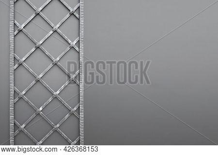 Metallic Pattern Of Wrought Iron Door. Detail Of Door With Metal Decoration, Abstract Background, Cl