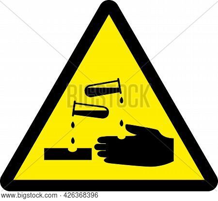 Corrosive Warning Sign. Black On Yellow Triangle Background. Hazardous Safety Signs And Symbols.