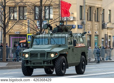 April 30, 2021 Moscow, Russia. Tiger Armored Car On Tverskaya Street In Moscow.