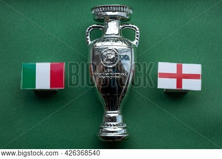 July 4, 2021 London, United Kingdom. Flags Of The Participants Of The European Football Championship