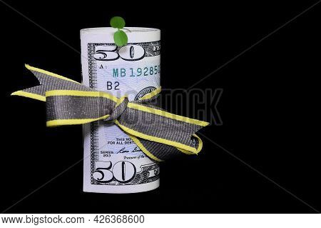 A Roll Of Fifty Dollars  Banknotes And A Green Sapling Growing On A Black Background. The Concep