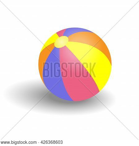 Colorful Beach Ball With Shadow Isolated On A White Background. Design Element Vector Illustration