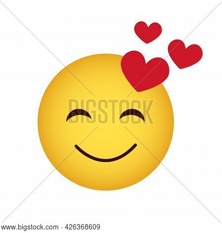 Love. Love Emoticon With Three Hearts, Smiling Yellow Face On A White Background, Vector Icon