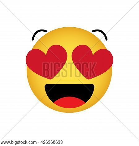 Love Emoticon With Hearts Instead Of Eyes, Smiling Yellow Face On A White Background, Vector Icon