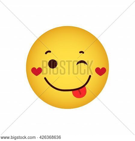 Love. Love Emoticon With Hearts On Cheeks, Happy Winking Yellow Face With Tongue On A White Backgrou