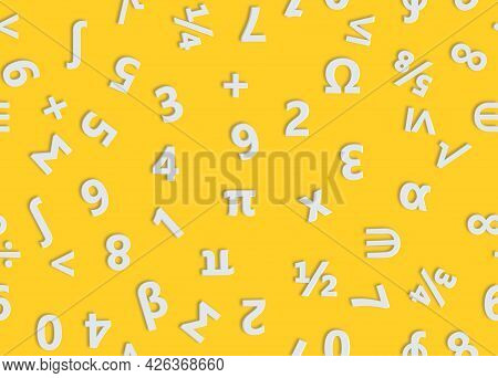 White Numbers And Mathematical Symbols Seamless Pattern. 3d Illustration.