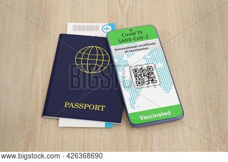 Mobile Phone With Covid 19 Vaccination Certificate, Passport With Plane Ticket. 3d Illustration