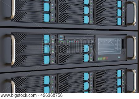 Computer Server Rack Close Up. Selective Focus. 3d Illustration.