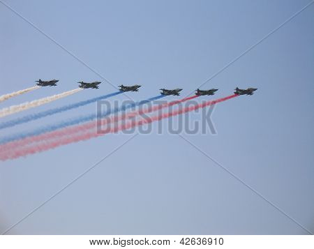 Su-25 Russian Military Fighters With Smoke Trace