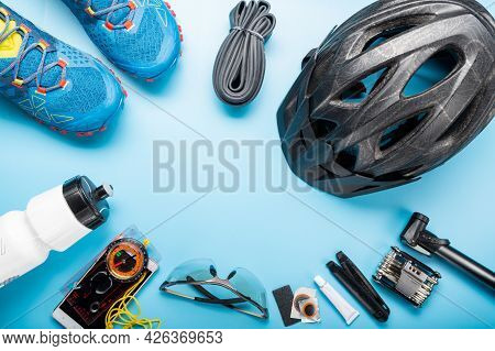 Cycling Equipment Is Laid Out In A Circle. Emptiness In The Middle Of The Circle. Place For The Insc