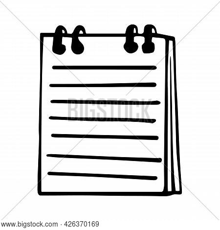 Notebook In Doodle Style. Vector Illustration Of Notepad Isolated On White Background. Workbook Icon