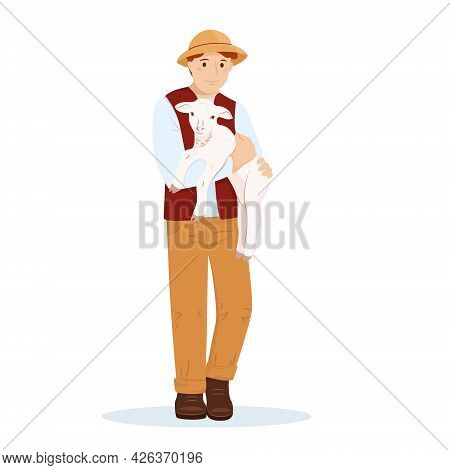 A Young Man Or Boy Farmer Holds A Young Lamb In His Arms. The Guy Takes Care Of The Sheep. Vector Il