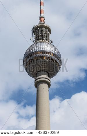 13 May 2019 Berlin, Germany - View of Berlin skyline with famous TV tower during afternoon with dram