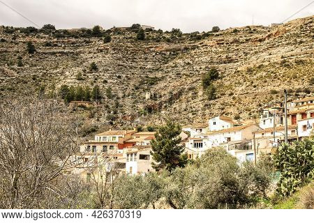 Views Of The Town Of Tolosa Between Mountains. Community Of Castilla La Mancha, Albacete, Spain.