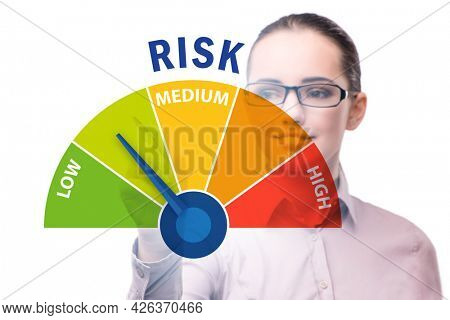 Businesswoman in risk metering and management concept