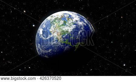 Earth planet over starfield in deep space. Science fiction fictional cosmic background with earth globe and stars with NASA earth textures, detailed 3D render illustration.
