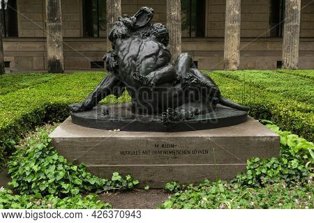 13 May 2019 Berlin, Germany -  The Sculpture of Hercules and the Nemean Lion by Max Klein inside of