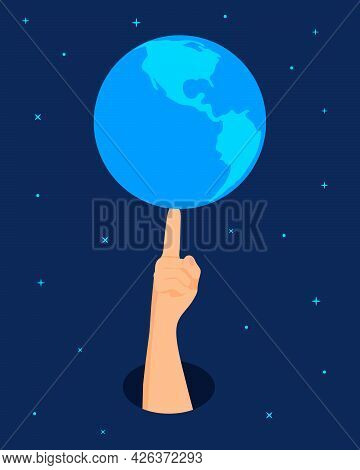 A Hand In Space Touches The Earth. The Earth Is Spinning On A Forefinger On The Background Of The Sp