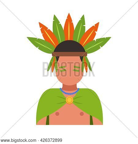 A Man From The Tribe With Feathers On His Head. Flat Vector Illustration.