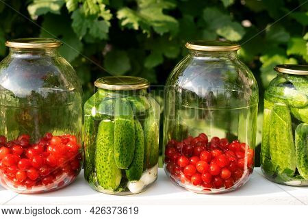 Pickled Canned Cucumbers And Compote Of Fresh Cherries In Jars Preserves Vitamins. Canned Food. Harv