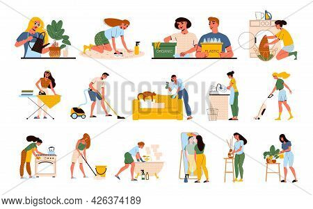 Flat Set With Characters Cleaning Up House Doing Laundry Cooking Ironing Mopping Floor Washing Dishe