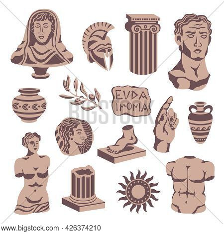 Antique Statues Set Of Isolated Icons With Portrait Sculptures Pillars Bowls And Signboard With Clas