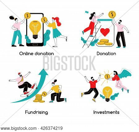 Crowdfunding 2x2 Design Concept Online Donation Fundraising Investments Donation Flat Compositions V