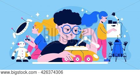 Robotics For Children Colored Background With Clever Kids Building Electronic Smart Toys Flat Vector