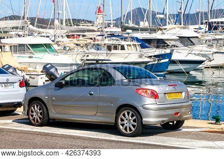 Saint-tropez, France - September 11, 2019: Compact Convertible Car Peugeot 206cc At The Pier Near Ya