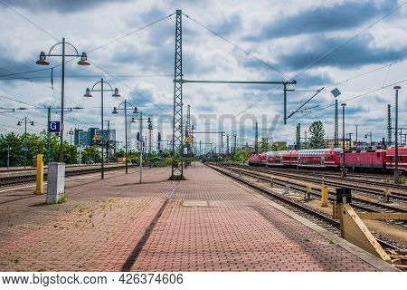 21 May 2019 Dresden, Germany - Dresden Hauptbahnhof - The Main Railway Station. Trains At The Railwa