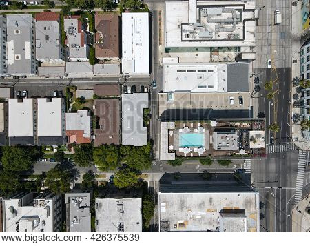 Aerial Top View Of Buildings In Beverly Hills, California, Los Angeles County. Home To Many Hollywoo