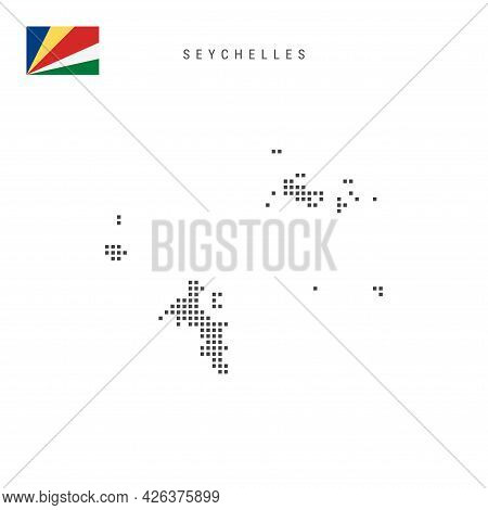Square Dots Pattern Map Of Seychelles. Republic Of Seychelles Dotted Pixel Map With National Flag Is