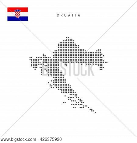 Square Dots Pattern Map Of Croatia. Croatian Dotted Pixel Map With National Flag Isolated On White B
