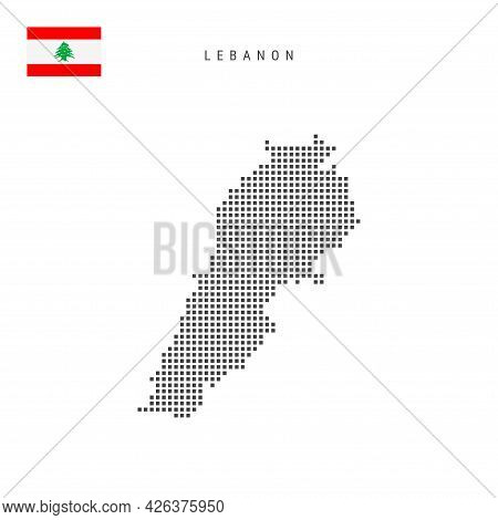 Square Dots Pattern Map Of Lebanon. Lebanese Dotted Pixel Map With National Flag Isolated On White B