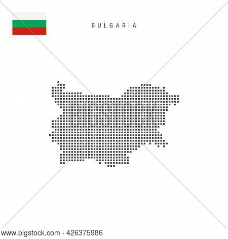 Square Dots Pattern Map Of Bulgaria. Bulgarian Dotted Pixel Map With National Flag Isolated On White